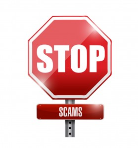 stop scams signpost illustration design